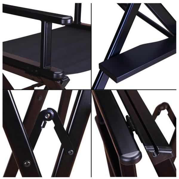 Разборный современный стул визажиста из алюминия c подголовником